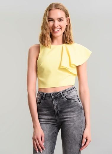 Agenda Kolu Volanlı Bluz Sarı